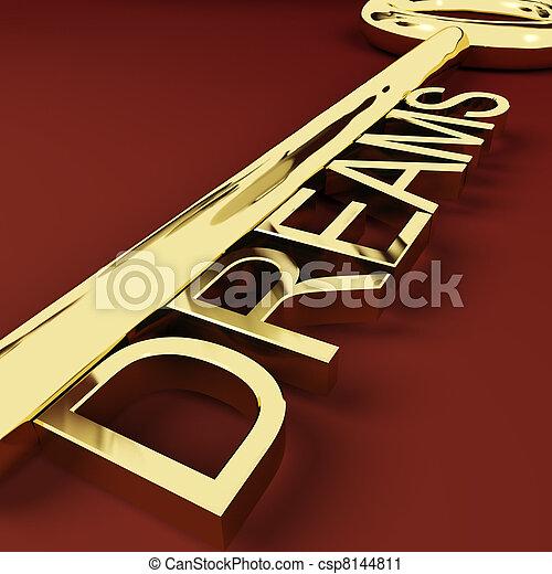 Dreams Gold Key Representing Hopes And Visions - csp8144811