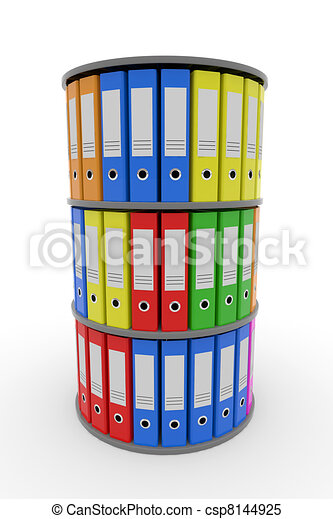 Color binder folders in shelf. - csp8144925
