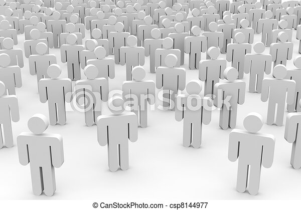 3D crowd of people. - csp8144977