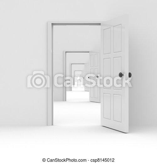 Row of open doors. Concept of possibilities. - csp8145012