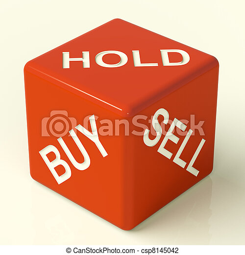 Buy Hold And Sell Red Dice Representing Stocks Strategy - csp8145042