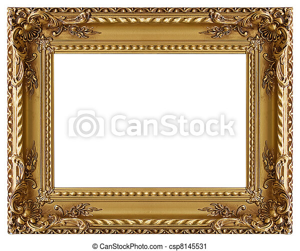 Picture gold frame with a decorative pattern - csp8145531