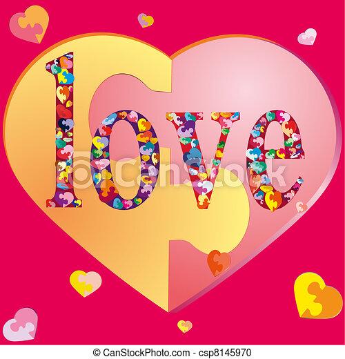 SÍMBOLOS, suor, amando, corações - csp8145970