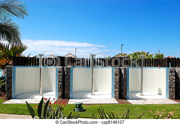 Picture of outdoor showers near swimming pool and beach tenerife csp8146107 search stock Where can i buy a swimming pool near me