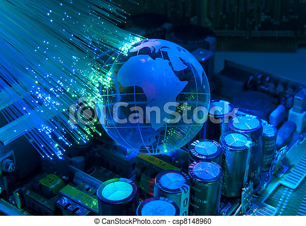 electronic printed circuit board with technology style against fiber optic background   - csp8148960