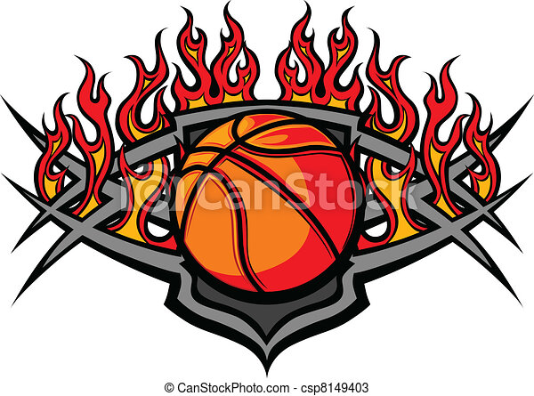 Basketball Ball Template with Flame - csp8149403