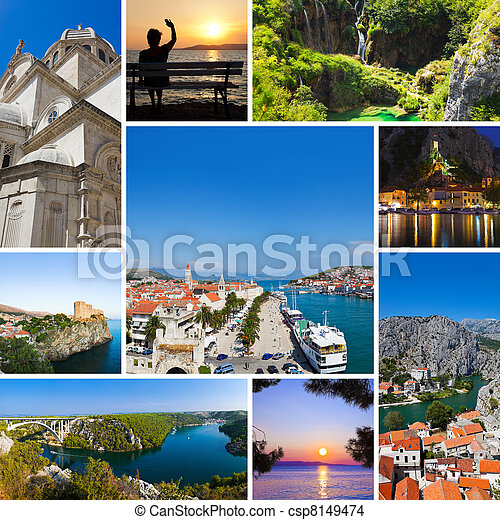 Collage of Croatia travel images - csp8149474