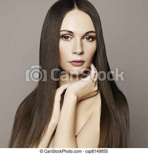 Fashion photo of beautiful woman with magnificent hair  - csp8149855
