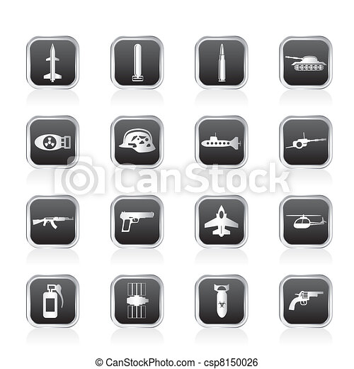 Simple weapon, arms and war icons - csp8150026