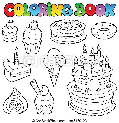 Coloring book various cakes 1 - csp8150123
