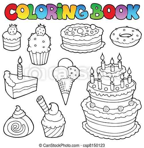 Coloring book various cakes 1 - csp8150123