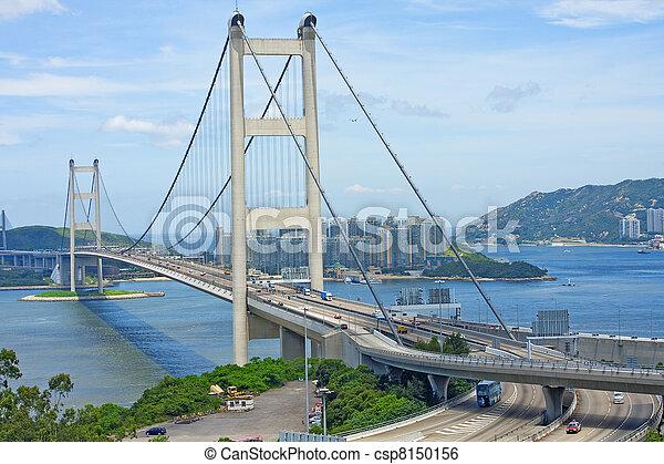 Tsing Ma Bridge, landmark bridge in Hong Kong  - csp8150156