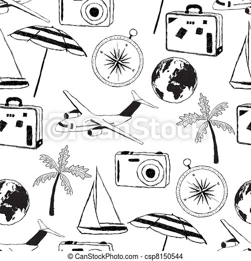 EPS Vector Of Doodle Travel Pattern Csp8150544 Search
