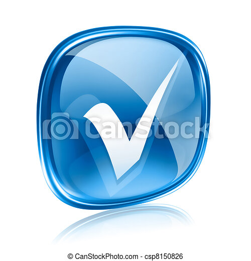check icon blue glass, isolated on white background. - csp8150826