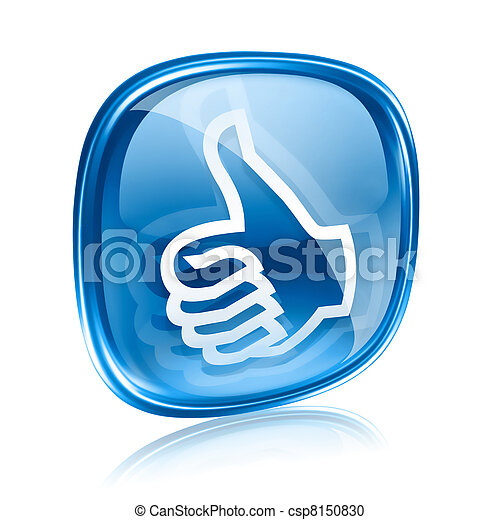 thumb up icon blue glass, approval Hand Gesture, isolated on white background. - csp8150830