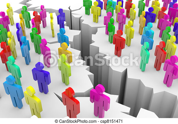 Color 3d people and cracked earth. - csp8151471
