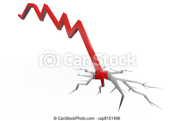 Red arrow breaking floor. Concept of  bankruptcy, financial collapse, depression, failure, money crisis. - csp8151496