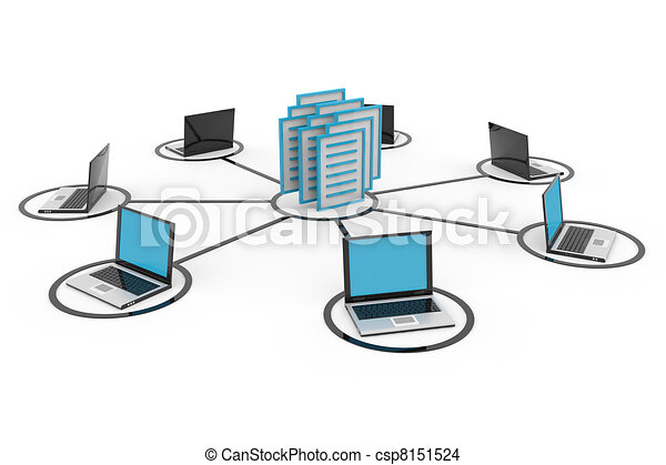 Abstract computer network with laptops and archive or database. - csp8151524