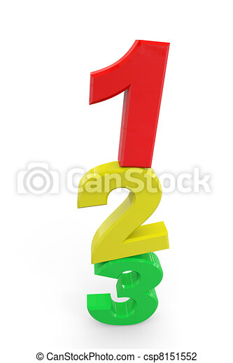 123 signs. Learn to count. Concept. - csp8151552