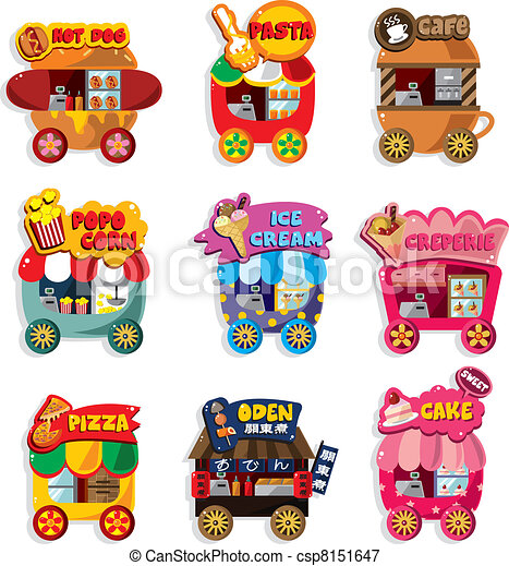 Cartoon market store car icon collection - csp8151647