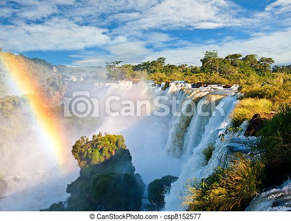 lado, sete,  UNESCO,  iguazu, natureza, Novo, um, local, quedas,  Argentinian, herança, mundo, maravilhas, vista - csp8152577