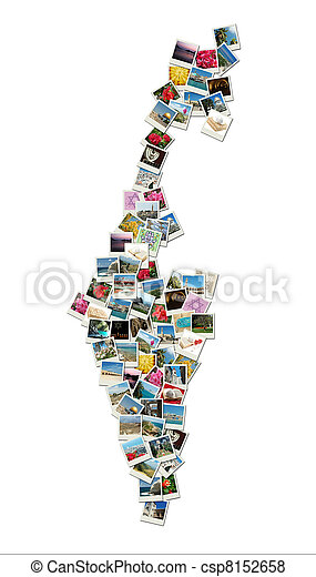 Map of Israel, collage made of travel photos with famous landmarks - western wall, omar mosque, bahai temple - csp8152658