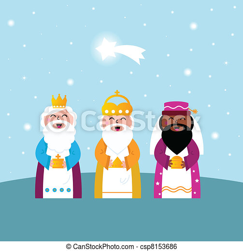 Three wise men bringing gifts to Christ - csp8153686