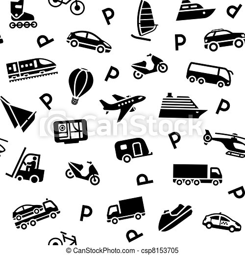 Seamless background transport icons - csp8153705