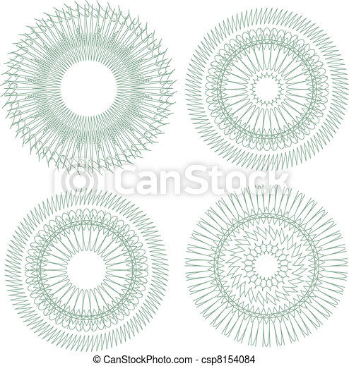 pattern for currency, certificate or diplomas. Vector guilloche - csp8154084