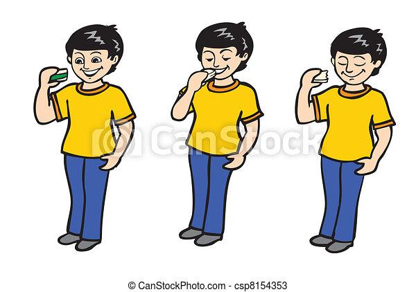 kid eating sandwich animation - csp8154353