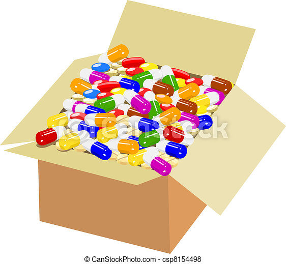 Vector of Full box of colorful medicine csp8154498 ...