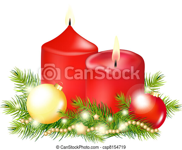 Red Christmas Candle - csp8154719