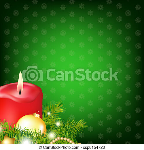 Red Christmas Candle With Fur Tree - csp8154720