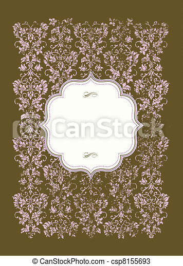Vector Distressed Pink Background and Frame - csp8155693