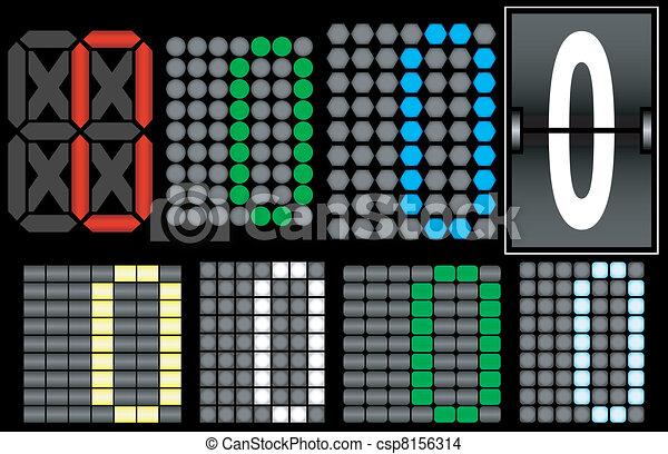 Font Set 4 Digital Display Number 0 - csp8156314