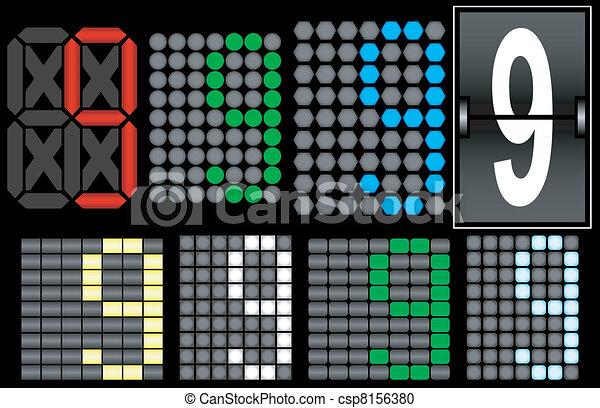 Font Set 4 Digital Display Number 9 - csp8156380