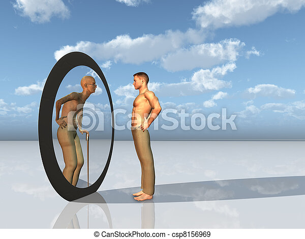 youth sees future self in mirror - csp8156969