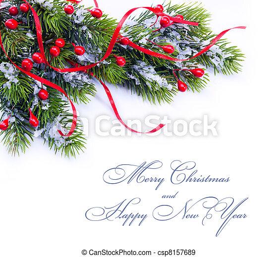 樅樹, 分支, 樹, 裝飾, 背景, 白色, 聖誕節 - csp8157689
