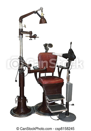old dentist chair with equipment - csp8158245