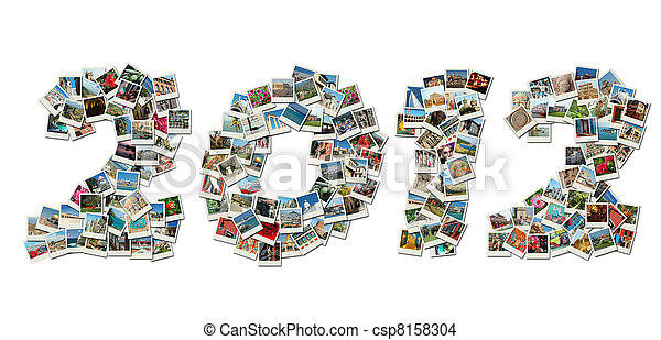 2012 PF card collage made of travel photos with famous landmarks of Israel,Greece,India,Italy,Bulgaria,etc - csp8158304
