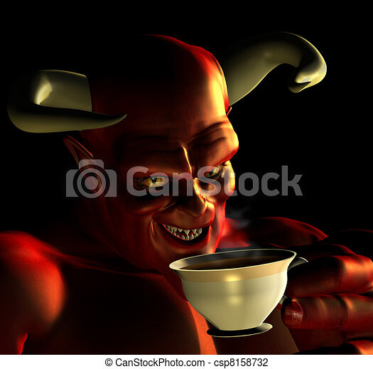 Devil Drinking Tea - csp8158732