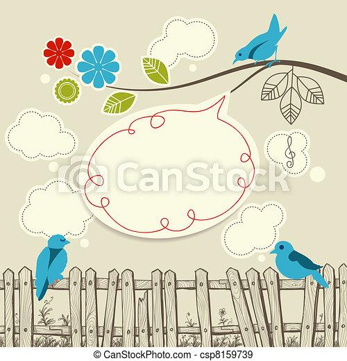 Blue birds talking communication concept - csp8159739