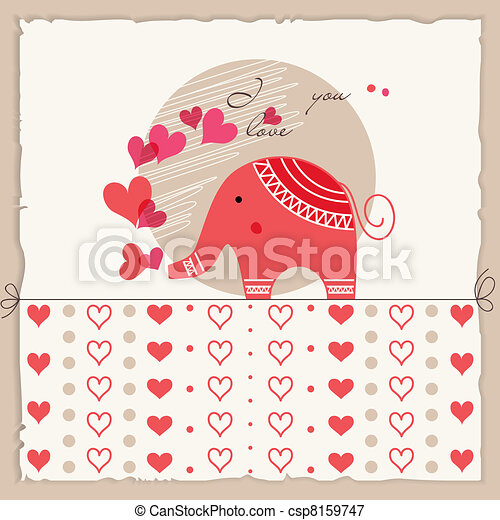 Valentine's day card, cute elephant in love - csp8159747