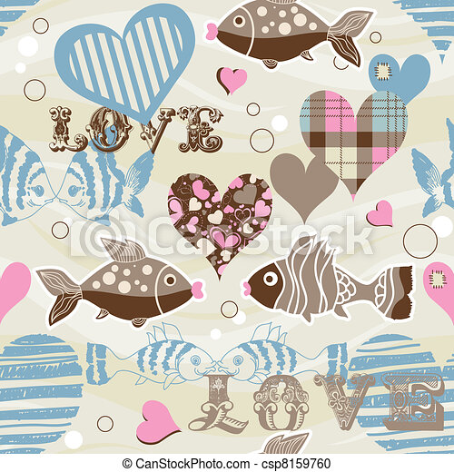 Love fish seamless pattern - csp8159760