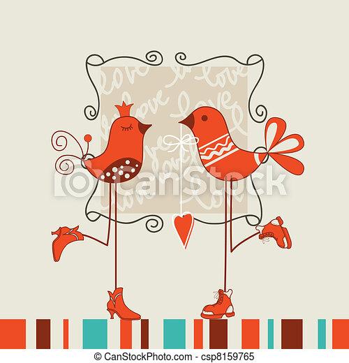 Birds romantic date - csp8159765