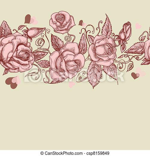 Vintage roses seamless pattern - csp8159849