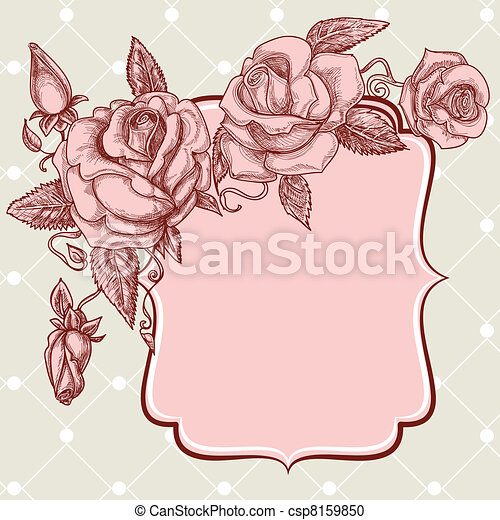 Festive events panel vintage roses decoration - csp8159850