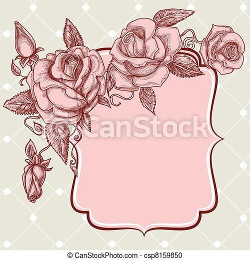 Festive events panel vintage roses decoration - csp8159850