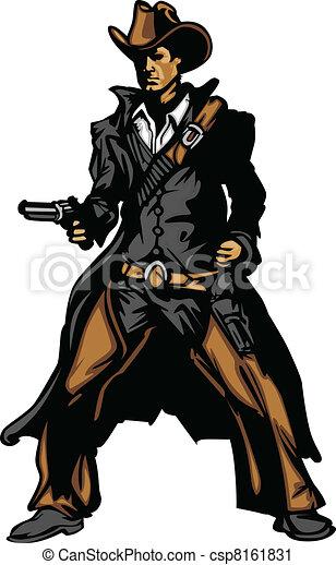 Cowboy Mascot Aiming Gun Vector Ill - csp8161831