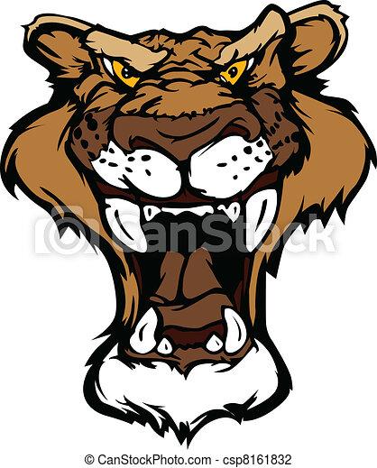 Cougar Panther Mascot Head Vector C - csp8161832